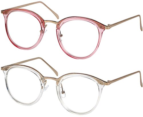 Reading Glasses Set of Pink and Clear Classic Elegant High Quality Glasses for Reading for Women +2.5 by Success Eyewear