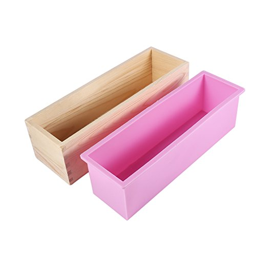 Silicone Liner Soap Mould With Natural Wooden Box Rectangle Soap Mold DIY Making Tool Candle Cake Bake Mold