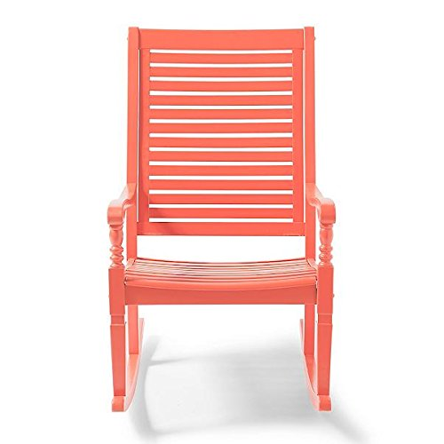 (Traditional Bayside Coral Hardwood Rocking Chair Porch Rocker Outdoor Patio Furniture)
