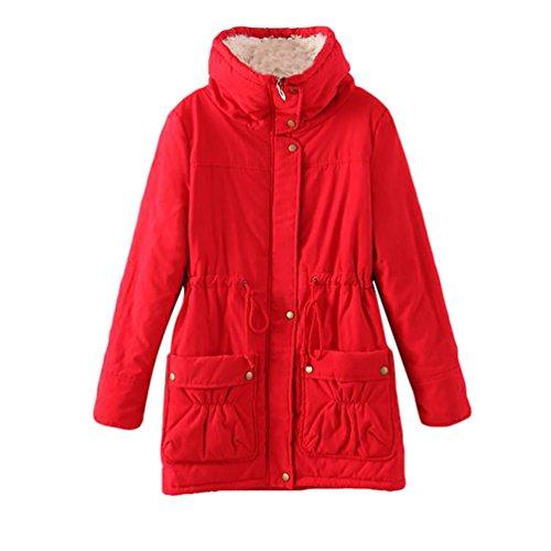 YOUJIA Mujer Chaquetas Parka Invierno Piel sintética Forrado Largo Cordón Ajustable Abrigos Rojo