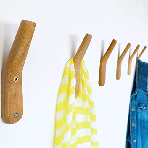 Coat Hooks Wall Mounted Handmade Natural Beech Wood Hook (Pack of 2) Vintage Wooden Hat Rack Entryway Bathroom Organizer Hanger Rustic Craft Single Towel Hangers Home and Kitchen Use Keys (Pack of 2)
