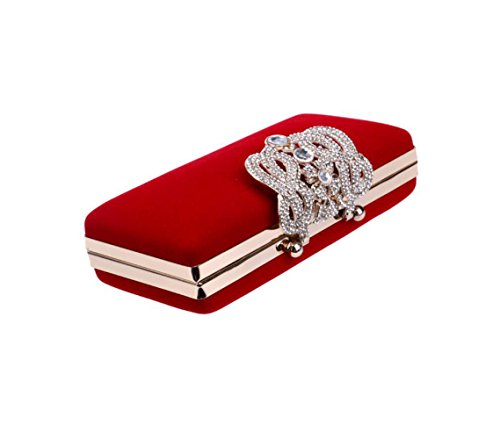 Bag Purse Wedding Ladies Party Glitter Prom Diamante Clubs Shoulder EnvelopeVelvet Women Red Bag For Gift Bridal Evening Handbag Clutch E7zqw7