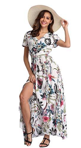 VintageClothing Women's Floral Print Maxi Dresses Boho Button Up Split Beach Party Dress, White&Flower, L -