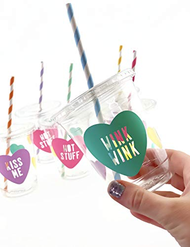 Valentines Day Party Cups - 12 Plastic Lids Straws Supplies Decorations Favor -