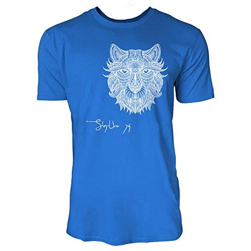 SINUS ART ® Löwenkopf im Ethno Look Herren T-Shirts in Blau Fun Shirt mit tollen Aufdruck