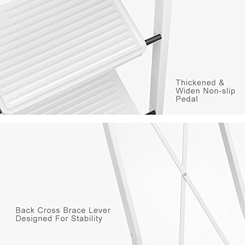Delxo 3 Step Ladder Folding Step Stool Ladder with Handgrip Anti-Slip Sturdy and Wide Pedal Multi-Use for Household and Office Portable Step Stool Steel 330lbs White (3 Feet) by Delxo (Image #1)