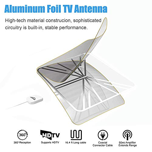 [2019 Newest] HDTV Antenna, Digital Indoor TV Antenna, Amplified 55+ Miles  Range with Amplifier Signal Booster for 1080P 4K Free TV Channels, 13 2
