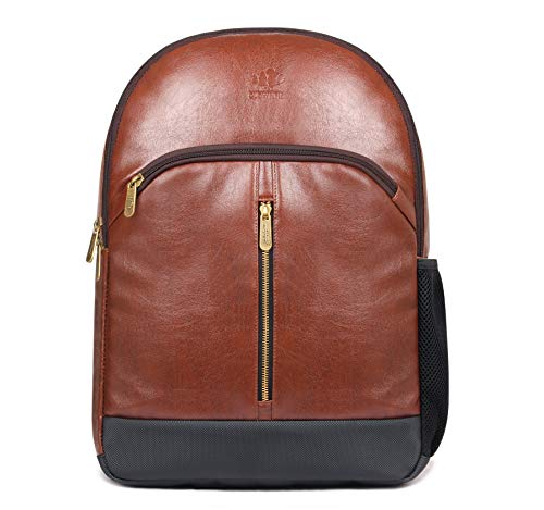 Unisex Brown Leather - Herculean Laptop Backpack | 27 ltrs Synthetic Leather Backpack for 15.6