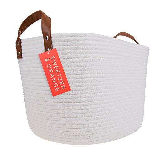 Sweetzer Orange Large Woven Cotton Rope Storage Basket Vegan Handles – Blanket Storage Baskets, Laundry Basket, Toy Storage, Nursery Hamper – Decorative Off White Basket for Living Room