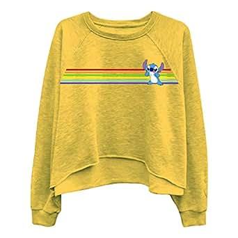 Disney Ladies Lilo and Stitch Sweatshirt - Ladies Classic Lilo and Stitch Oversized Raglan Sweatshirt (Mustard, Large)
