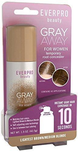 Techno Brown Light - Everpro Gray Away Womens Root Concealer Light Brown/Medium Blonde 1.5oz by Everpro