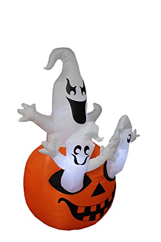 BZB Goods 5 Foot Tall Halloween Inflatable Three Ghosts with Pumpkin LED Lights Decor Outdoor Indoor Holiday Decorations, Blow up Lighted Yard Decor, Lawn Inflatables Home Family Outside by BZB Goods (Image #1)