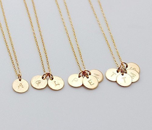 1 2 3 4 Circle Initial Pendant Necklace, Customized Small Disc Necklace, Family, Sister Necklace, Mother, Couple Jewelry 14K Gold fill, Sterling Silver or Rose Gold - Initial Disc Necklace