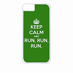 Zheng caseKeep Calm And Run Run Run-Hard White Plastic Snap - On Case with Soft Black Rubber Lining-Apple Iphone 4 - 4s - Great Quality!