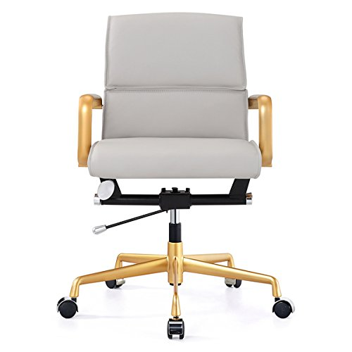 M330 Office Chair in Gold and Grey Vegan Faux Leather