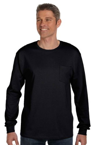 Blank Sleeve T-shirts Long (Hanes Men's Tagless Long Sleeve T-Shirt with a Pocket - XX-Large - Black)