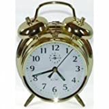 Acctim Saxon Large Double Bell Alarm Clock Brass by Acctim