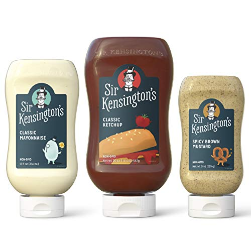 Sir Kensington's  Classic Ketchup, Classic Mayonnaise, Spicy Brown Mustard Trio Sampler Picnic Pack 3 Pack