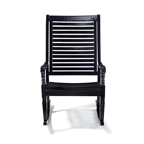 (Traditional Bayside Black Hardwood Rocking Chair Porch Rocker Outdoor Patio Furniture)