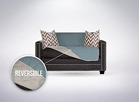 The Original SOFA SHIELD Reversible Furniture Protector, Features Elastic Strap (Chair and a Half: (Couch Cover Ottoman)