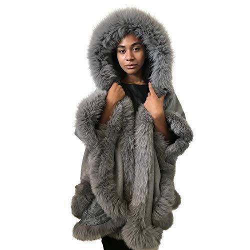 (Poncho Cape hood cashmere fox fur trim)