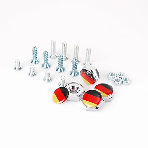KUJOOY 4pcs Chrome Metal Sports Style German Flag License Plate Frame Universal Screw Bolt Cap Cover