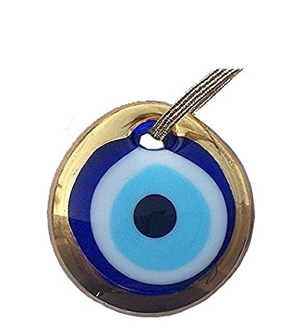 Gold Gilt Handmade Evil Eye Glass Charm decorative Turkish - Greek - Jewish - Christian Christmas ornament (1.5 inch ) Ebsem