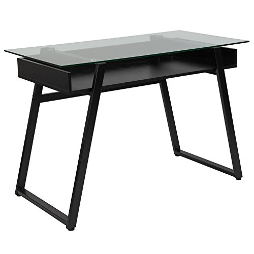 Flash Furniture Huntley Glass Computer Desk with Shelf and Black Metal Legs Black Glass Computer Desk