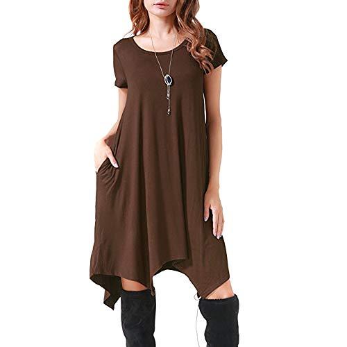 (HAALIFE◕‿Women's Pockets Casual Swing Loose T-Shirt Dress)