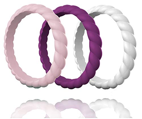 Made for Her Silicone Wedding Ring for Women, Stackable & Thin Rubber Band in Fine Color Combination for Pregnant, Sports & Active Women's - Life Time Warranty Set of 1-3-7-10 Antique Style Engagement Ring Setting