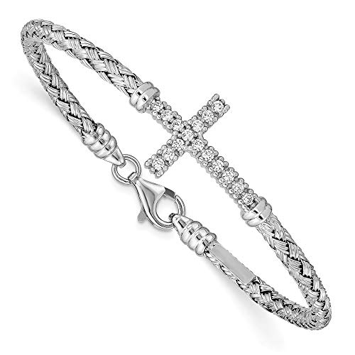 925 Sterling Silver Cubic Zirconia Cz Italian Cross Religious Bangle Bracelet Cuff Expandable Stackable Fine Jewelry Gifts For Women For Her ()