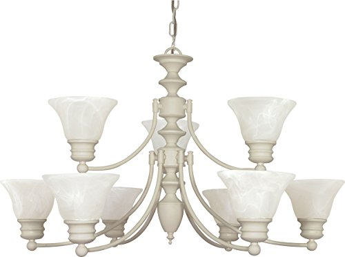 White Nine Light Chandelier - Nuvo Lighting 60/363 Nine Light Chandelier, Textured White/Alabaster Glass