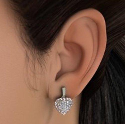 Or blanc 18K 0,86CT TW Round-cut-diamond (IJ | SI) Pendants d'oreilles
