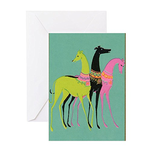 CafePress Art Deco Ornate Greyhounds Greeting Card, Note Card, Birthday Card, Blank Inside Glossy