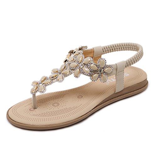 Women's Flower Rhinestone Bohemia Clip Toe Sandals Boho Beach Flip Flops Flat Elastic T-Strap Post Thong Sandals Shoes Beige