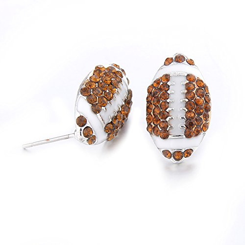 (Lureme Fashion Crystal Rhinestone Post Silver Stud Bling Football Earrings (er005453-4))
