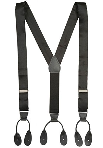 Men In Black Fancy Dress (Hold'Em 100% Silk Suspenders For Men Y - Back Fancy Solid Button End Dress Suspender Made in USA – Many Colors and Designs Perfect for Tuxedo - Black)