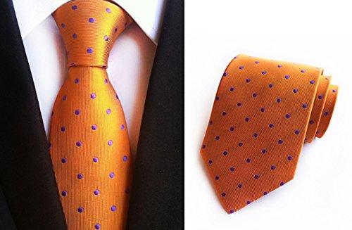 Soie À Pois Classique Hommes Mendeng Cravate Affaires Cravate De L'orange
