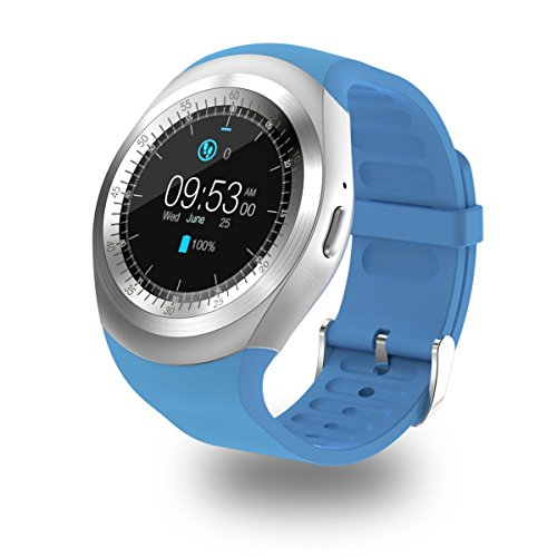 Corelink Round Touch Screen Bluetooth Smartwatch GSM Watch Smart Phone with SIM TF Card Slot Support Twitter Facebook Whats APP Notification for Samsung HTC LG Android Phone Smartphone - Round Faces