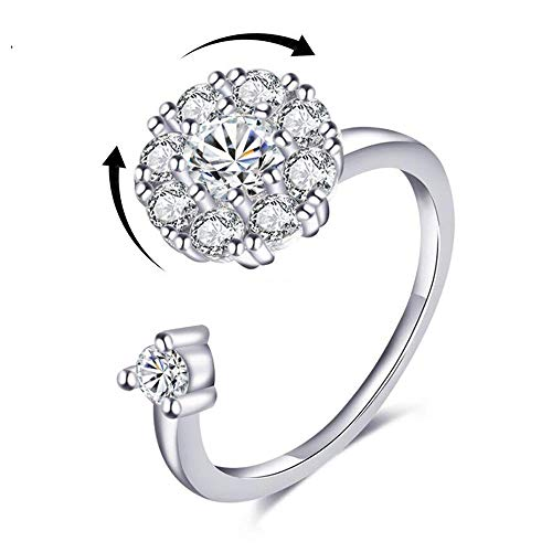Hantaostyle Fashion S925 Silver Open Rings,Adjustable Rotating Rings Zircon Combo Ring Ladies Jewelry(Silver)