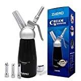 ZOEMO Profession Cream Whipper - 250ML Aluminum Whipped Cream Dispenser w/Bonus Recipe eBook - Half Pint Whipper Canister, Black