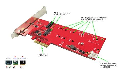 Ableconn PEXM2-122 Dual M.2 SATA SSD Controller PCI Express Card Adapter - Support 2X M.2 NGFF SSDs