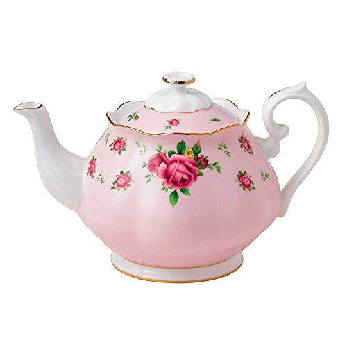 Pink Rose Bone China - Royal Albert New Country Roses Formal Vintage Teapot, White/Pink