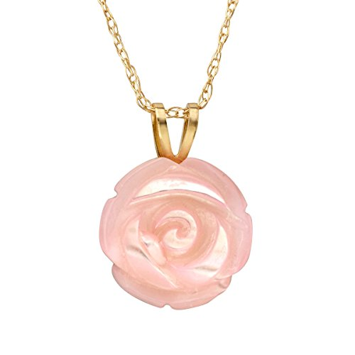 Mother Of Pearl Rose Pendant (Pink Natural Mother-of-Pearl Rose Pendant Necklace in 14K Gold)