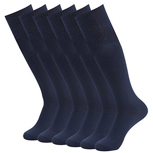 (Football Socks for Men Women,Fasoar Long Knee High Team Sports Soccer Socks 6 Pairs Navy Blue)