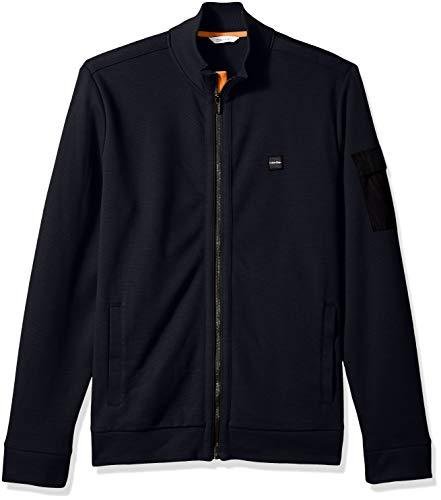 Calvin Klein Men's Lightweight Zip Up Weekend Layer Sweater, Cozy Blue, Small