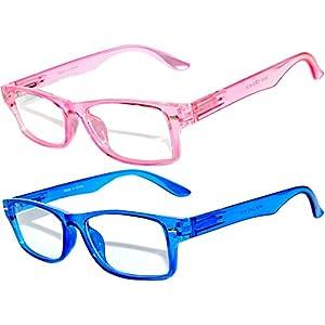 Narrow Retro Fashion Style Rectangular Pink Blue Frame Clear Lens Eyeglasses