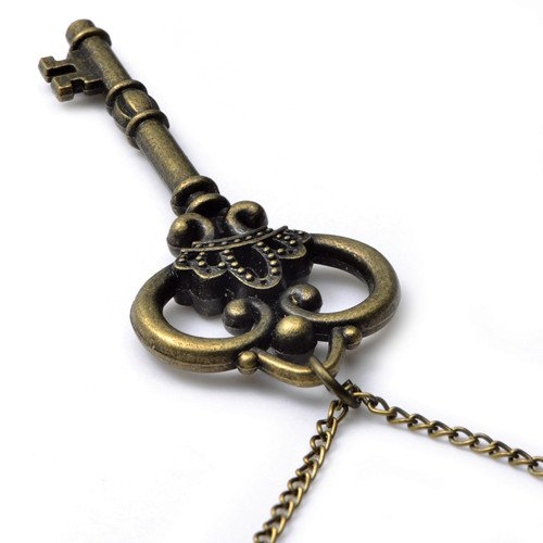 Crown Design Metal Key Chains - U2U Jewelry Allloy Vintage Retro Steampunk Crown Key,Sweater Chain,Necklace Pendant 0236 - 2 Chains