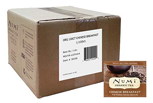Numi Organic Tea, Chinese Breakfast, Full Leaf Black Tea, 100 Count Bulk non-GMO Tea Bags (Packaging May Vary) Premium Yunnan Bagged ()