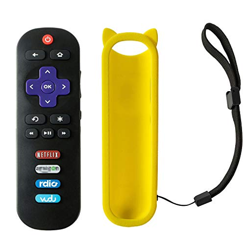 RC280 Remote Control Fit for TCL Roku TV Remote 32S3750 40FS3750 55UP120 40FS4610R 65US5800 32S3800 28S3750 32S3700 55UP130 50UP130 43UP130 32S3850A 32S3850B 32S3850P 32s301 55US5800 (Yellow case)